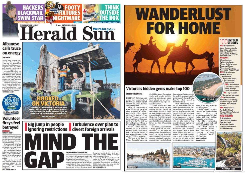 Bastion Effect achieve coverage on the front page of Herald Sun for Choice Hotels